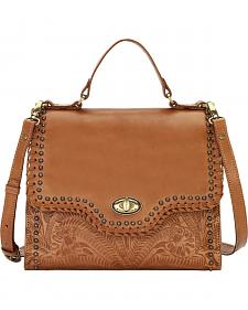 American West Women's Golden Tan Hidalgo Top Handle Convertible Flap Bag