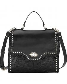 American West Women's Black Hidalgo Top Handle Convertible Flap Bag