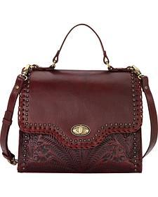 American West Women's Crimson Hidalgo Top Handle Convertible Flap Bag