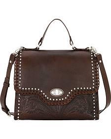 American West Women's Chestnut Hidalgo Top Handle Convertible Flap Bag