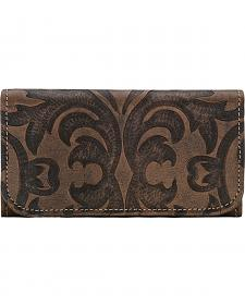 American West Charcoal Brown Baroque Tri-Fold Wallet