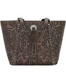 American West Charcoal Brown Baroque Zip Top Bucket Tote