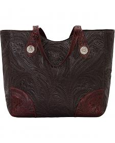 American West Annie's Secret Collection Chocolate Large Zip Top Tote