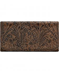 American West Women's Distressed Charcoal Brown Annie's Secret Tri-Fold Wallet