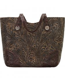 American West Annie's Secret Collection Brown Distressed Large Zip Top Tote