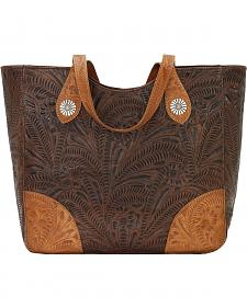American West Annie's Secret Collection Brown Large Zip Top Tote