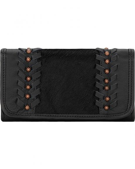American West Women's Cow Town Black Tri-Fold Wallet