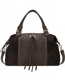 American West Chocolate Cow Town Large Convertible Zip Top Satchel