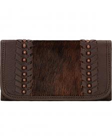 American West Women's Cow Town Chocolate Tri-Fold Wallet