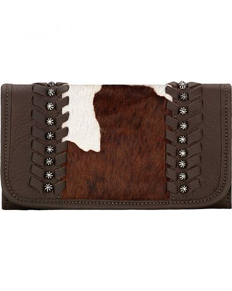 American West Women's Cow Town Chocolate Pony Hair Tri-Fold Wallet