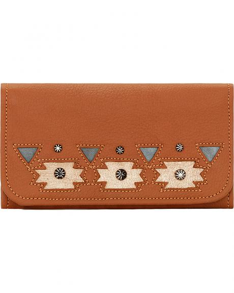 American West Women's Tan Chenoa Tri-Fold Wallet