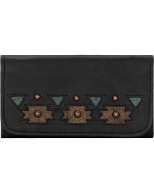 American West Women's Black Chenoa Tri-Fold Wallet