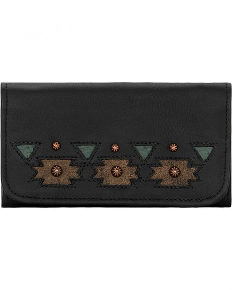 American West Women's Black Chenoa Tri-Fold Wallet