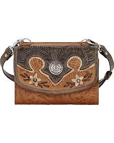 American West Tan Desert Wildflower Small Crossbody Bag/Wallet