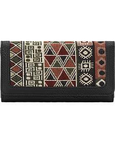 Bandana Women's Black Tulum Flap Wallet