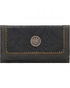 Bandana by American West Charcoal Grey Guns & Roses Flap Wallet