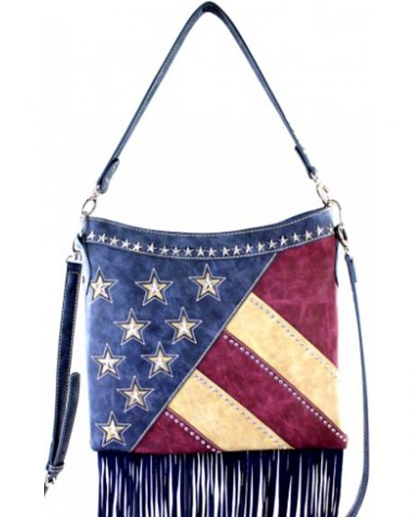Montana West America Pride Fringe Hobo/Crossbody Bag