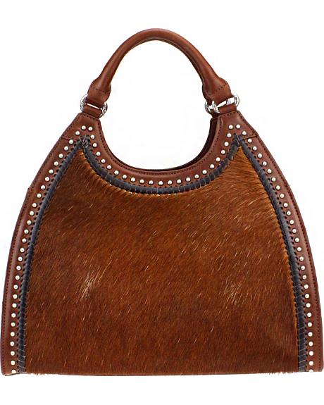 Montana West Delila Handbag 100% Genuine Leather Hair-On Hide Collection in Brown