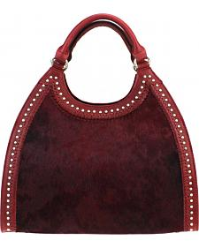 Montana West Delila Handbag 100% Genuine Leather Hair-On Hide Collection in Burgundy