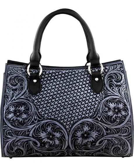 LEA-6013 BK  MONTANA WEST-DELILA 100% GENUINE LEATHER TOOLED COLLECTION