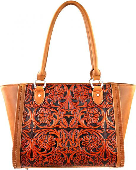 LEA-6017 BR  MONTANA WEST-DELILA 100% GENUINE LEATHER TOOLED COLLECTION