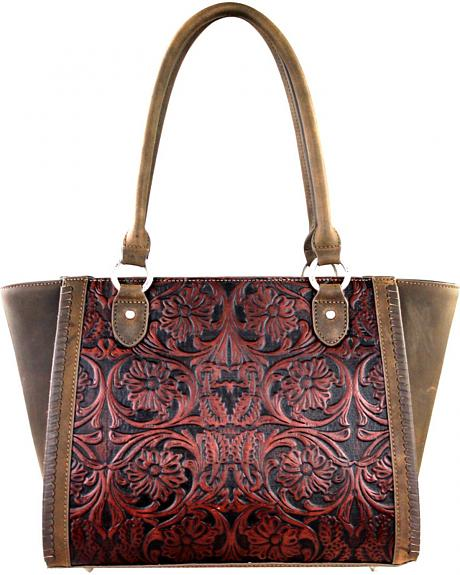 LEA-6017 CF  MONTANA WEST-DELILA 100% GENUINE LEATHER TOOLED COLLECTION
