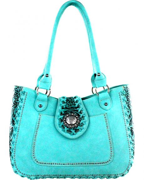 TR36G-8277 TQ  MONTANA WEST - TRINITY RANCH FLORAL TOOLING WITH LACING HANDBAG