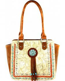 Montana West Beige Concho Collection Tote Bag