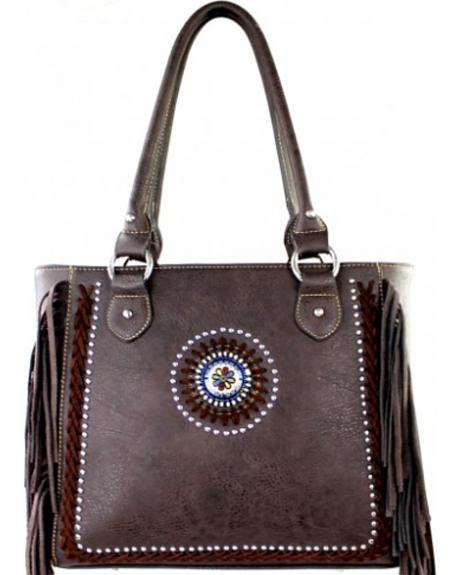Montana West Coffee Fringe Collection Braided Lacing Satchel