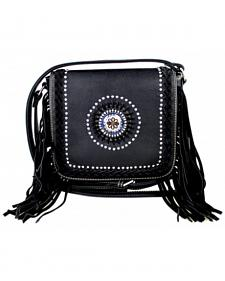 Montana West Fringe Collection Braided Lacing with Fringe Crossbody Bag in Black