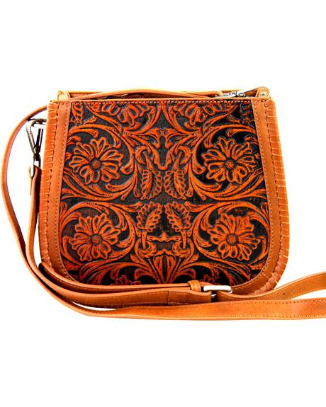 LEA-6018 BR  MONTANA WEST-DELILA 100% GENUINE LEATHER TOOLED COLLECTION