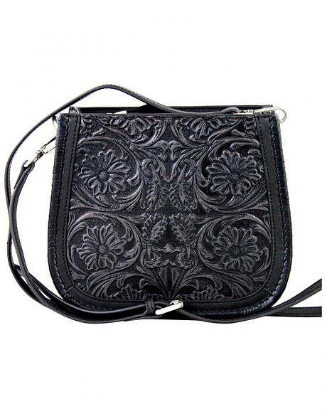 LEA-6018 BK  MONTANA WEST-DELILA 100% GENUINE LEATHER TOOLED COLLECTION