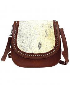 Montana West Delila Saddle Bag 100% Genuine Leather Hair-On Hide Collection in Natural
