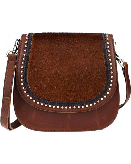 Montana West Delila Saddle Bag 100% Genuine Leather Hair-On Hide Collection in Brown