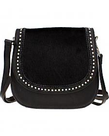 Montana West Delila Saddle Bag 100% Genuine Leather Hair-On Hide Collection in Black