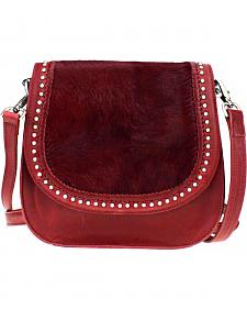 Montana West Delila Saddle Bag 100% Genuine Leather Hair-On Hide Collection in Burgundy