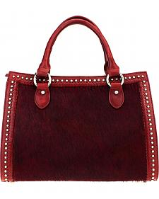 Montana West Delila Satchel 100% Genuine Leather Hair-On Hide Collection in Burgundy