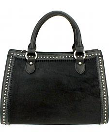 Montana West Delila Satchel 100% Genuine Leather Hair-On Hide Collection in Black