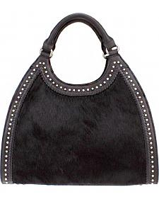 Montana West Delila Handbag 100% Genuine Leather Hair-On Hide Collection in Black