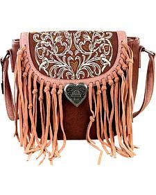 Montana West Fringe Handbag with Love Shape Turn Lock