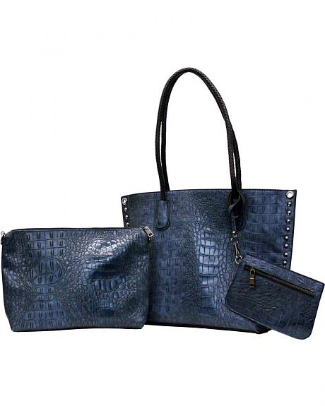 BGLA2883 3 PC SET CROC WITH CROSSBODY AND COSMETIC