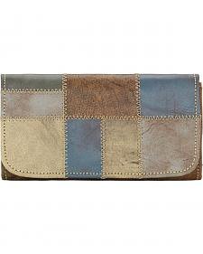 American West Women's Distressed Charcoal Brown Tri-Fold Wallet