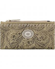 American West Women's Sand Tooled Foldover Snap Closure Wallet