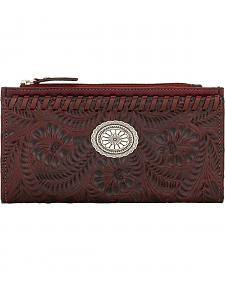 American West Women's Red Tooled Foldover Snap Closure Wallet