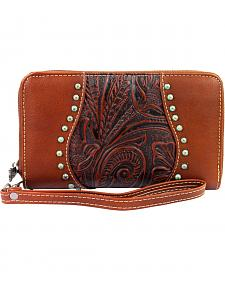 Montana West Trinity Ranch Brown Tooled Design Wallet