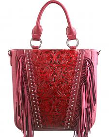 Montana West Trinity Ranch Red Tooled Design Concealed Handgun Collection Handbag