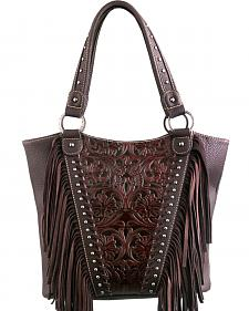 Montana West Trinity Ranch Coffee Tooled Design Concealed Handgun Collection Handbag