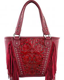 Montana West Trinity Ranch Red Tooled Design Concealed Handgun Collection Handbag with Fringe