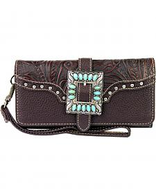 Montana West Trinity Ranch Buckle Wallet with Turquoise Stones