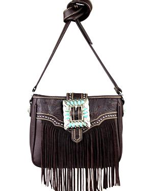 Montana West Trinity Ranch Belt Buckle Messenger Bag with Fringe